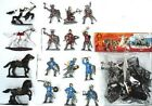 Toy Soldiers English French Knights 16 Painted Plastic Figures 4 Horses 1/32