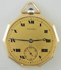 Solid 14K Gold 10 Sided TAVANNES Pocket Watch c1920