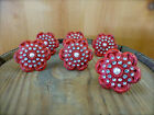 6 RED VINTAGE-STYLE FLORAL DRAWER PULLS HANDLES KNOBS metal hardware shabby chic
