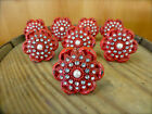 8 RED VINTAGE-STYLE FLORAL DRAWER PULLS HANDLES KNOBS metal shabby chic hardware