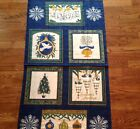 A MODA JINGLE CHRISTMAS SEASON GREETING'S #2 BLUE COTTON FABRIC PANEL