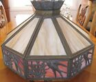 VERY BEAUTIFUL Large Antique Signed PH Leaded Glass Chandelier Lamp Shade