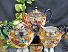 NIPPON BEADED GOLD GILT HAND PAINTED TEAPOT TEASET COBALT BLUE GOLD GILT