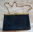 Vintage Etra Navy Blue Leather Embossed Lizard Look Clutch Handbag