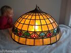 Vintage Leaded Slag Glass Lamp Shade Chandelier Hanger Acorn Tulip Mission 24