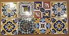 MADE IN SPAIN CLAY CERAMIC HAND PAINTED TILES Set of 8
