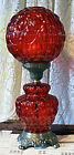 Vintage GWTW Hurricane Red Quilted Parlor Table Lamp with Silver Metal