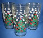 Christmas Swnky Swigs Set 3 Glass Tumblers Holicay Trees Snowflakes Vintage 1960
