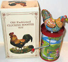 Vintage Tin Litho Chicken Rooster Hand Crank Toy Noise Maker 1998 Shackman Repro