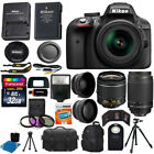 Nikon D3300 Black DSLR Camera w 18 55mm VR + 70 300mm + 32GB Top Value Bundle
