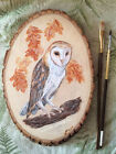 BARN OWL Original Wildlife Nature Rustic Art Artwork Acrylic Painting on Wood