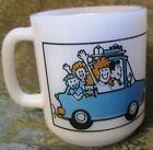 Glasbake Coffee Mug Cup  I'd Rather Be On Vacation  Blue White Heat Vintage