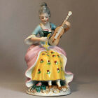 Vintage LADY with VIOLIN JAPAN FIGURINE Porcelain Statue Victorian Woman