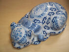 Vintage Macau Chinese Glazed Porcelain Sleeping Cat Handpainted - Very Nice!