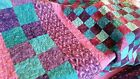 NEW~ HANDMADE ~PURPLE~ TEAL BLUES ~ QUILT~ OVER SIZE QUEEN / KING 92 X 97