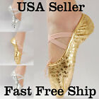 New Women Girl Gold Silver Ballet Pointe Gymnastics Sequins Leather Dance Shoes