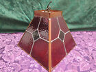 Antique Leaded Stained Glass Copper Frame Hanging Light Shade.
