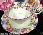 AYNSLEY TEA CUP AND SAUCER LILAC & PASTEL LIME TEACUP PATTERN LOW DORIS