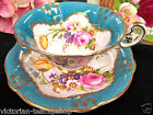 FOLEY TEA CUP AND SAUCER BLUE & FLORAL FLARED PANELED TEACUP FLAWED