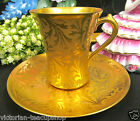 LIMOGES FRANCE TEA CUP AND SAUCER ALL GOLD TEACUP ETCHED PATTERN TEACUP