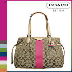 NWT Auth NEW COACH 28501 Signature Stripe Drawstring Carryall tote khaki pink