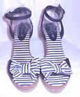AMERICAN EAGLE Navy Blue Stripe Platform Braid Wedge Ankle Strap Sandal sz 7.5 W