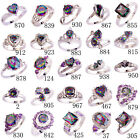 Exquisite Fashion Jewelry Multicolor Rainbow Silver Ring Sz 6 7 8 9 10 11 12 13