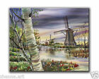 Original Oil PAINTING old windmills & dreamy boggy river FOREST LANDSCAPE ART