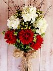 XL Spring Summer Wreath Country Floral RED & WHITE BLOOMS TWIG DOOR WREATH DECOR
