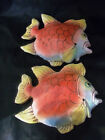 (2)  Terra Cotta  Fish Hanging Wall Plaques Painted & Glazed Made in Italy