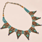 FABULOUS TURQUOISE WITH RED CORAL & LAPIS LAZULI .925 SILVER NECKLACE ANP-2008