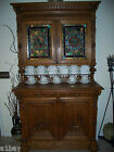 French Antique Hand Carved Oak Barrister / Lawyer Hutch Cabinet w/ Stained Glass
