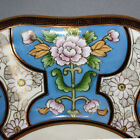 Antique Hand Painted NIPPON BOWL Art Deco Porcelain PINK FLOWERS Blue Gold