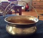 Vintage Heavy Brass Pot Cauldron w/ Brass Handle. 6