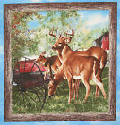 Deer Friendly Visitors C panel fabric square quilting block quilt cotton
