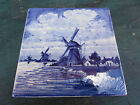 Vintage Delfts Hand Painted Blue White Tile Countryside Windmills 5.2x5.2x0.4