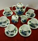 Vintage Imperial Nippon Coffee Service With Six Cups & Six Saucers Blue Roses