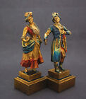 VINTAGE DECO PERIOD POMPEIAN BRONZE CLAD MAN LADY SINGING POLYCHROME BOOKEND