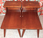Vintage Mid Century Cushman Colonial Wood End Tables Nighstands 5208 Vermont
