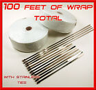 WHITE EXHAUST WRAP HEADER PIPE TAPE 2 ROLLS 2 X 50 FEET  STAINLESS TIES KIT