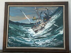 Original Signed Mid Century Oil Painting of Fishing Boat on Rough High Seas
