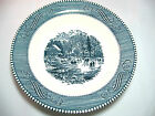 Currier & Ives Soup Bowl Blue White Royal China 8.5