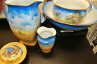 Antique Large scenic Pottery English Pitcher & Bowl 5 pc set Scenes of Old cntry