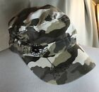 Womens Olive Green Black Floral Sequin Cabbie Newsboy Camouflage Cap Hat