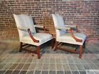 Pair George III Martha Washington Style Mahogany Arm Chairs 20th Century
