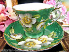 AYNSLEY TEA CUP AND SAUCER GREEN & DOGWOOD FLOWERS PATTERN TEACUP TEXTURED