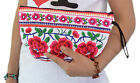 White & Red Wristlet Cosmetic Makeup Bag Handbag Ethnic Clutch Purse Flowers