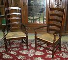 Pair Antique Style Country French Ladderback Arm Chairs Seagrass Rush Seats