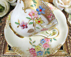 FOLEY TEA CUP AND SAUCER FLORAL PAINTED & GOLD GILT TEACUP PATTERN