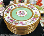 LIMOGES FRANCE HANDPAINTED set of 12 PAINTED ARTIST SIGNED PLATES ROSES GOLD